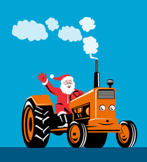 Santa on a Tractor